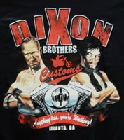 """Walking Dead """"Dixon Bros Motorcycle"""" Parody Black 2 Sided T-Shirt-Choice of Size"""