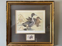 1982 Texas Duck Stamp and Print Framed Pintails Ken Carlson 5852/9500