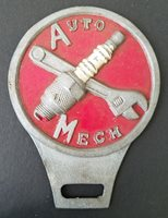 Wonderful 1950's Auto Mechanic License Plate Topper in Painted Aluminum
