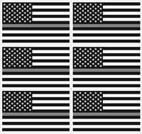 3x5 Thin GRAY Line USA Flag Decal Grey Sticker Correction Officer - 6 PACK