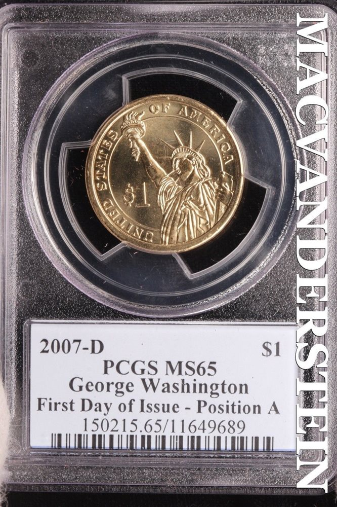 Washington Dollar 2007 P/&D   PCGS MS65 4 coin set FDI