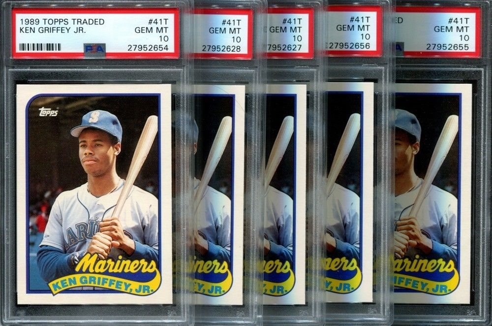 7e8ef3b9f0 KEN GRIFFEY JR 1989 TOPPS TRADED #41T ROOKIE RC 5 COUNT LOT PSA 10. Click  To Enlarge