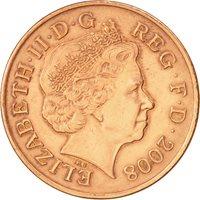 Great Britain, Elizabeth II, 2 Pence,2008,AU(50-53),Copper Plated Steel,KM 1108