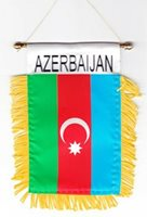 """AZERBAIJAN MINI BANNER FLAG 4 x 6"""" with BRASS STAFF & SUCTION CUP - NEW"""