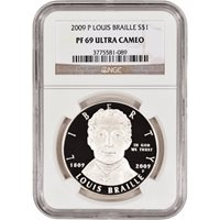 2009 P US Louis Braille Commemorative Proof Silver $1 NGC PF69 UCAM