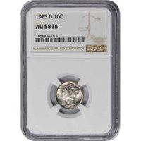 1925-D Mercury Silver Dime AU58FB NGC