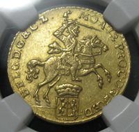 1762 Netherlands Gelderland 7 Gulden Gold NGC MS62 Uncirculated GEM Very Rare