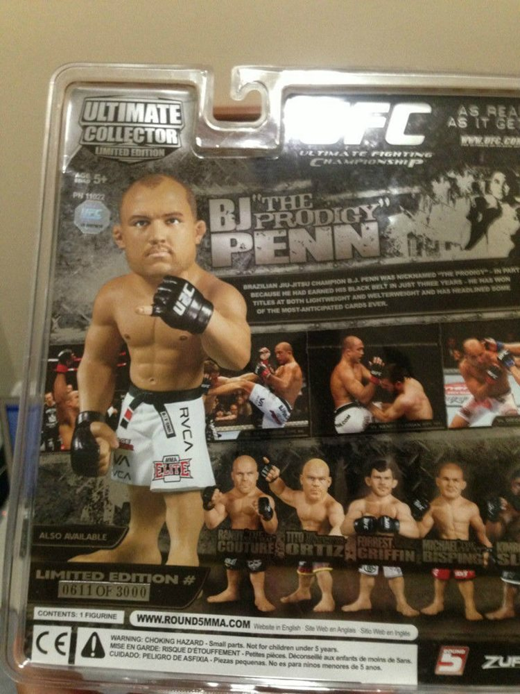 BJ PENN ULTIMATE COLLECTORS SERIES 12 LIMITED EDITION ROUND 5 UFC FIGURE 2 BELTS