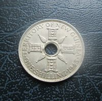 1945 Territory of New Guinea Silver One Shilling Coin, George VI