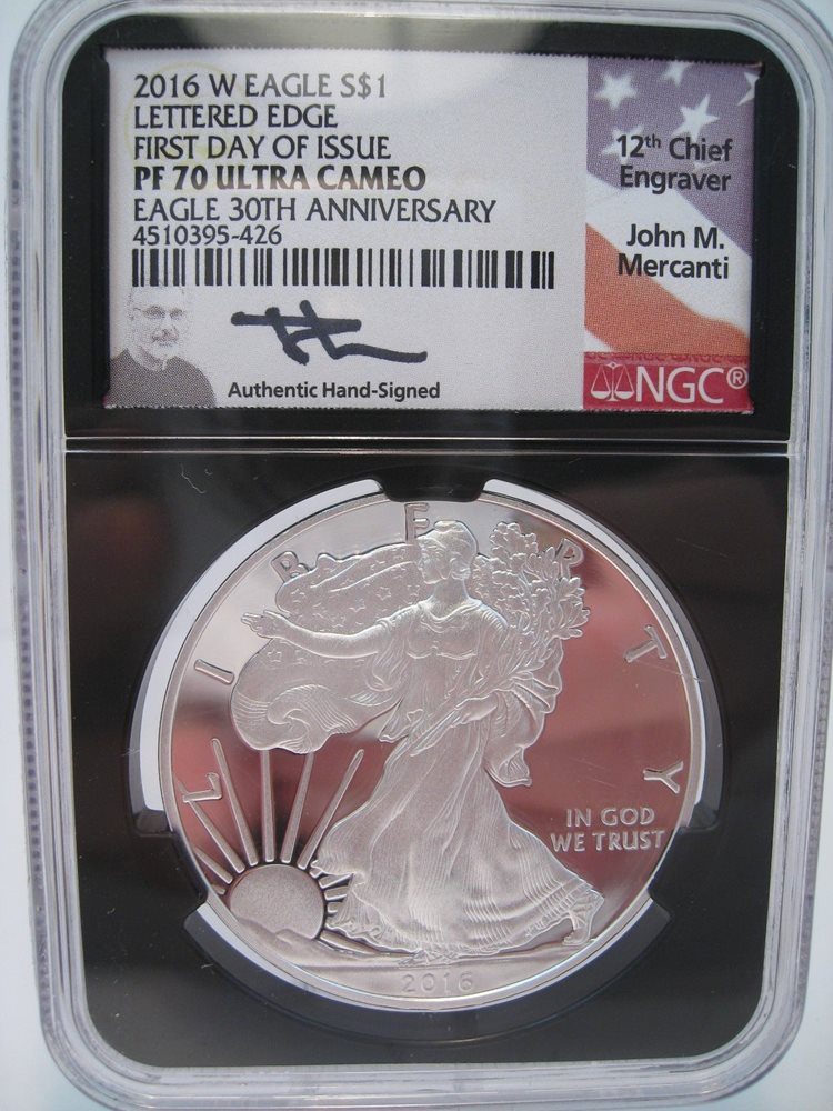 2016 W Silver Eagle SILVER 30th Anniversary Lettered Edge PF70 FIRST DAY Issue!