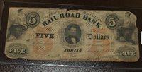 Erie & Kalamazoo Rail Road Bank $5 Obsolete Note - Adrian MI Aug 1st, 1853