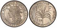 GUADELOUPE. 19(21) Cu-Ni Pattern Franc. NGC MS64. Paris. KME5 variant; Lec-52.