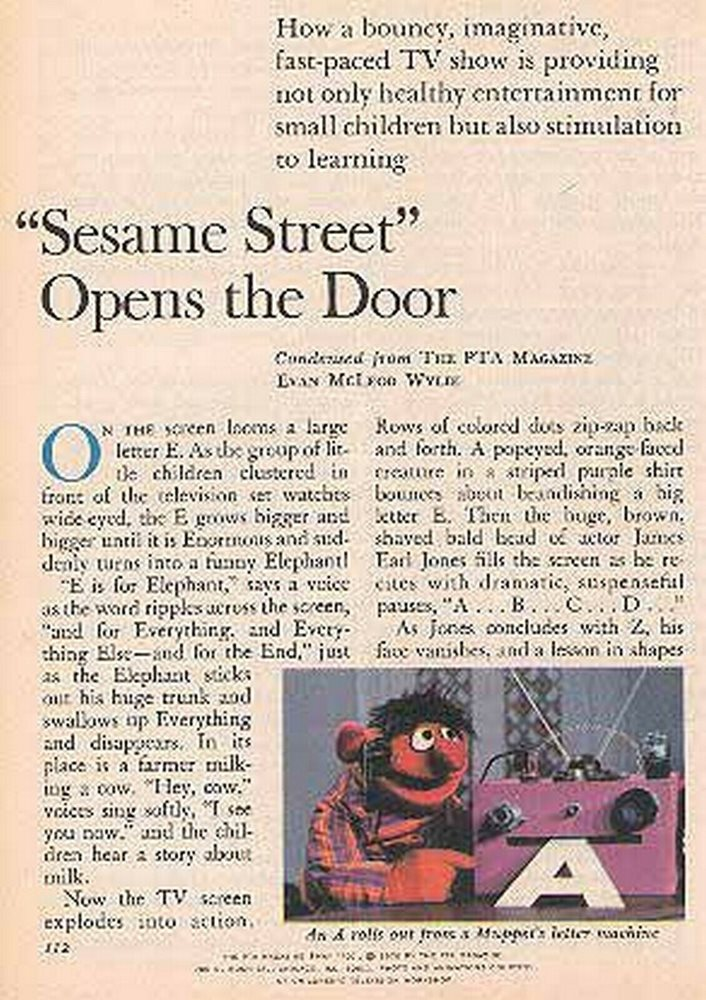 Sesame Street 1970 Feature New Tv Program Muppets Big Bird Bert Ernie