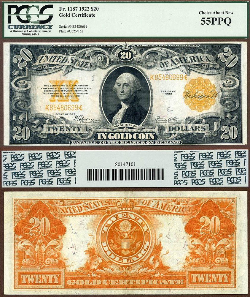 Us Currency 1922 20 Gold Certificate Fr 1187
