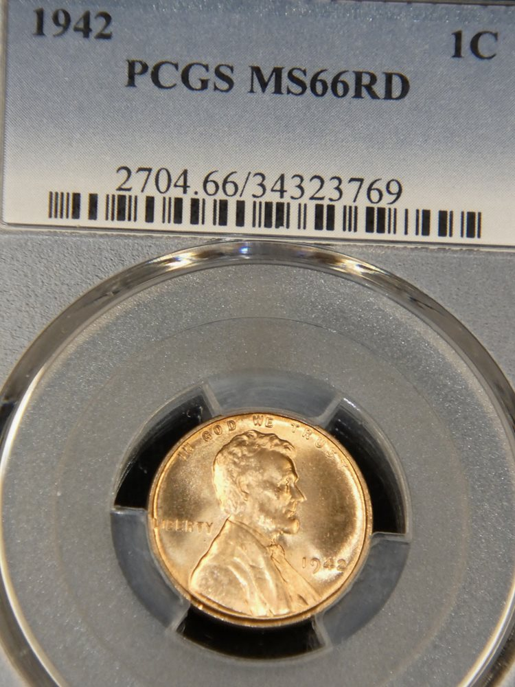 MS 66 RD!! PCGS MS66 RD 1942 RED Lincoln Wheat Cent! 1942 P!