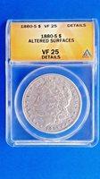 1880 s Morgan Silver Dollar VF 25 ANACS