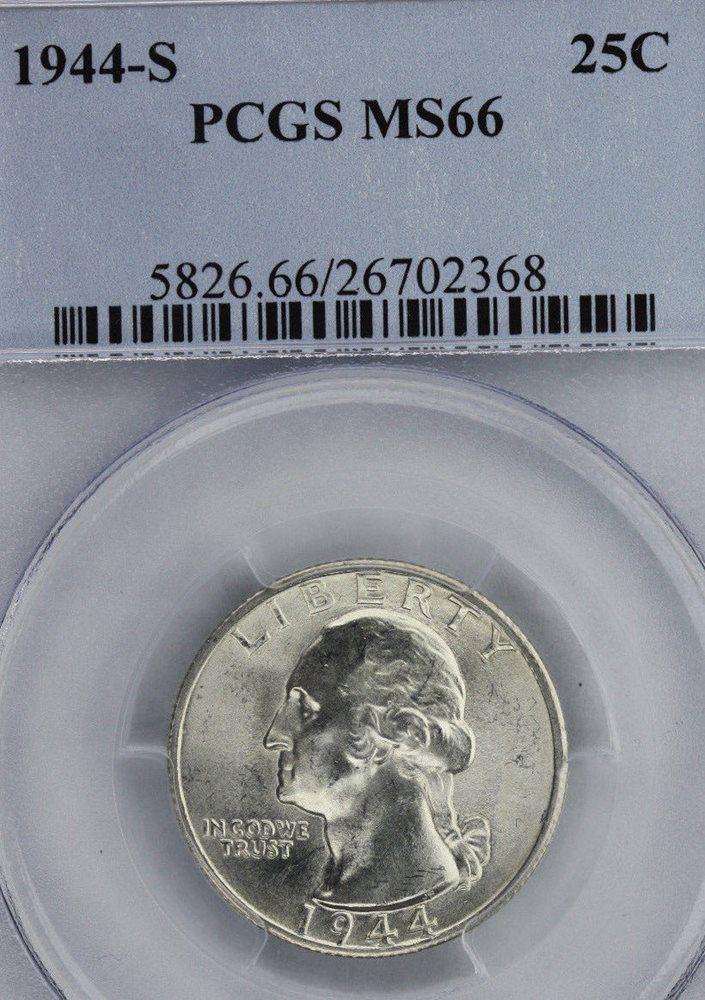 1944 P Washington Silver Quarter PCGS MS66