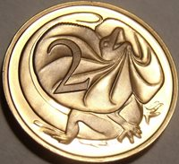Cameo Proof Australia 1981 2 Cents~Only 86,000 Minted~Frill-necked lizard~Fr/Shi