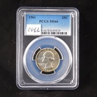 1961 Washington Silver Quarter, PCGS MS66, Gem Uncirculated, In Holder