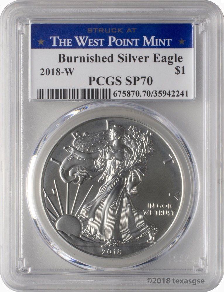 2018-W Burnished $1 American Silver Eagle PCGS SP70 FDOI Flag Frame