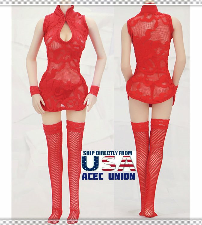 """1//6 Lace Dress Lingeries Stockings Set RED For 12/"""" Phicen Female SHIP FROM USA"""