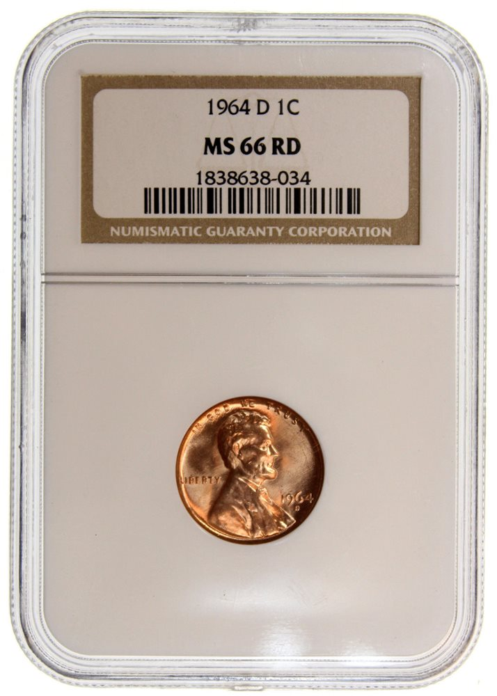 NGC Certified MS 65 RD 1964 Lincoln 1c