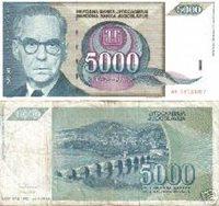 YUGOSLAVIA 5 000 Dinara 1991 - F