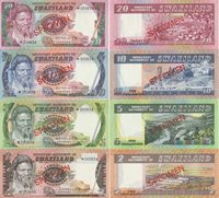 (5)specimen Set:20,10,5,2,1 Emalaneni Banknotes 1974 Swaziland