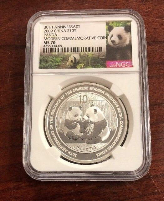 2009 China Panda 30th Anniversary 10 Yuan NGC MS70 1 Ounce Silver Coin Sale!