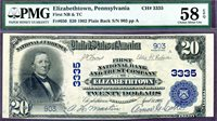 HGR CH#3335 1902 $20 ELIZABETHTOWN Pennsylvania (FINEST LG on Bank) PMG AU-58EPQ
