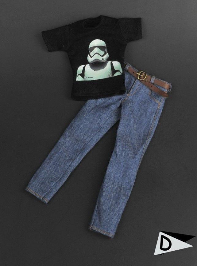 1/6 Clothes Star Wars Stormtrooper Graphic T Shirt Jeans Set ☆SHIP FROM USA☆ Figurki akcji i z filmów Zabawki