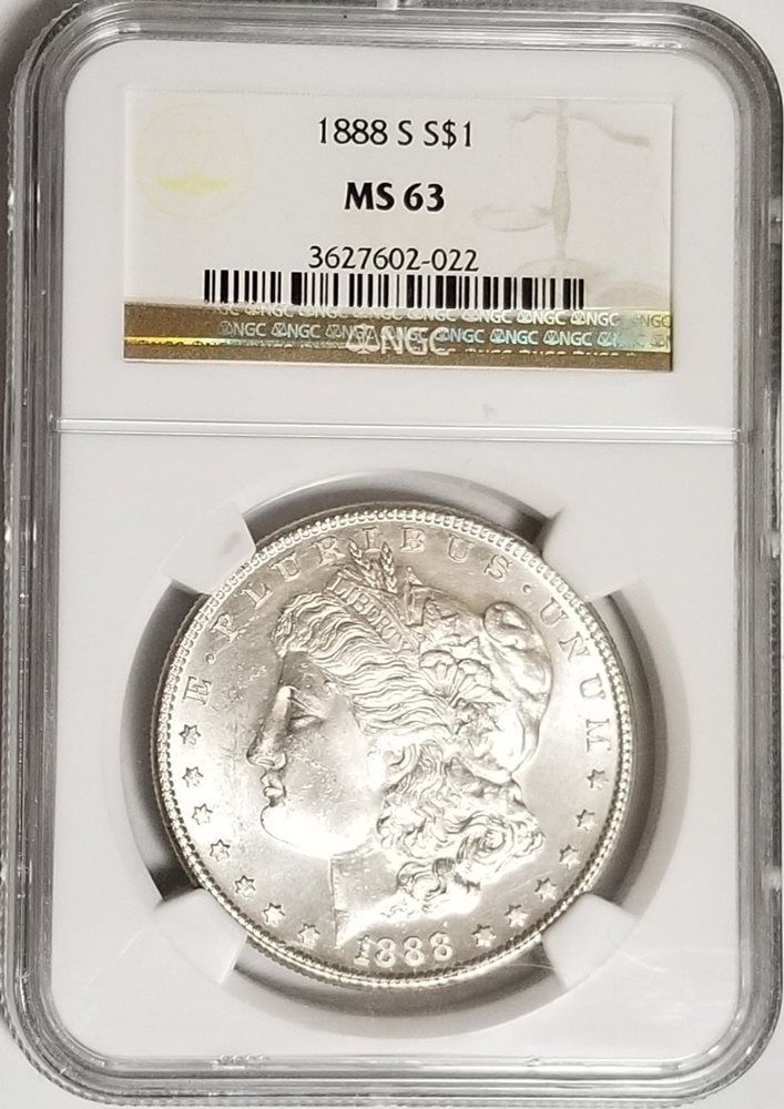 1888 Morgan Silver Dollar $1 PCGS MS64 Bright White
