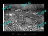 OLD LARGE HISTORIC PHOTO HEBBURN ENGLAND AERIAL VIEW OF TOWN & RIVER c1940 1