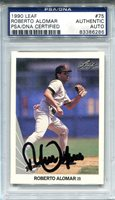 Robert Alomar Autographed 1990 Leaf Card (PSA/DNA)