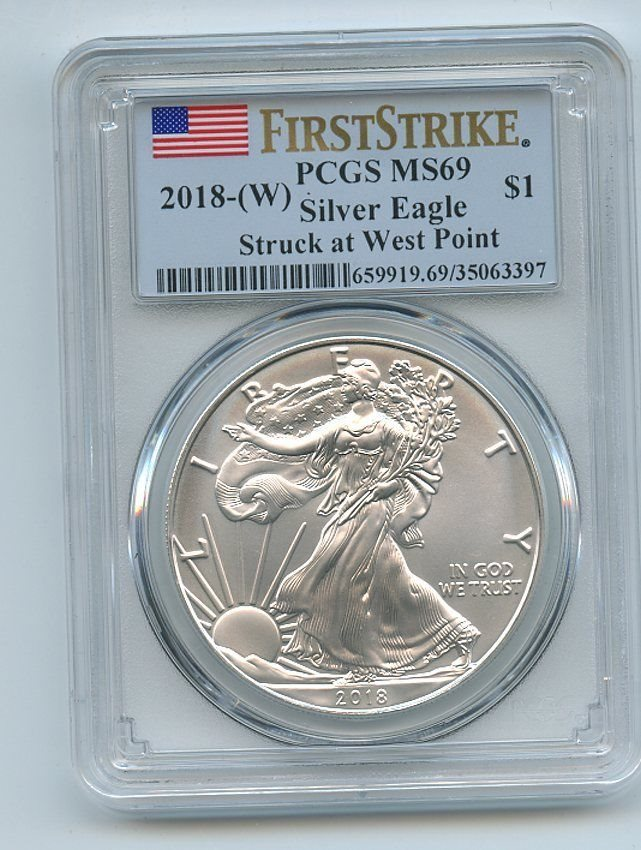 PCGS MS69 First Strike West Point Label W American Silver Eagle 2019-