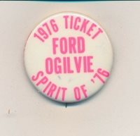 "1976 Ford for president & Ogilvie VP (hopeful) Illinois IL 1 3/4"" campaign butto"