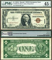 US Currency 1935A $1 Hawaii Silver Certificate FR-2300 PCGS Graded Choice Extremely Fine 45PPQ S/N P35342746C