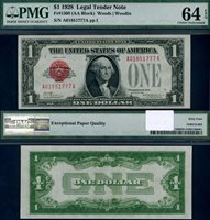 FR. 1500 $1 1928 Legal Tender A-A Block Choice PMG CU64EPQ