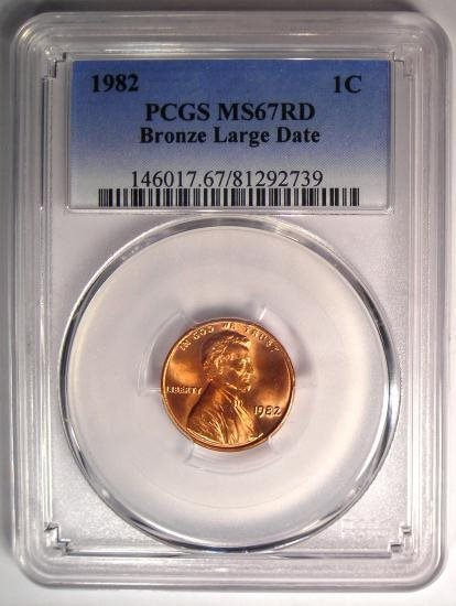 1982 Lincoln Cent Penny (Bronze, Large Date) 1C - PCGS MS67 RD