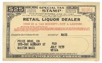 Retail Liquor Dealer F.Y.E. 1940 $25 black red VF tack holes
