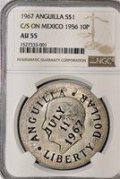 1967 $1 X#10.1 C/M on 1914 $1 Anguilla AU55 NGC