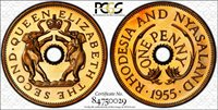 Rhodesia 1955 Nyasaland Penny Proof PSGC PR67 Coin Elephant