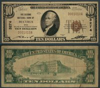 Bucyrus OH $10 1929 T-1 National Bank Note Ch #3274 Second NB Fine+