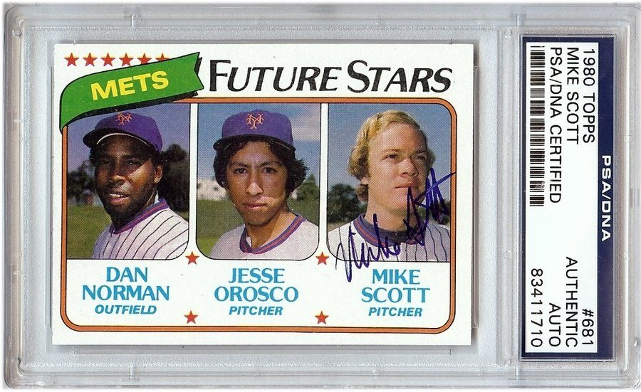 Mike Scott Signed Autographed Baseball Card 1980 Topps 681 Rc Psadna Ny Mets