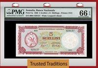 1966 Somalia 5 Scellini = 5/- Shillings Pmg 66 Epq Gem Only One Finer