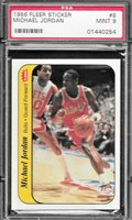 1986 Fleer #8 Michael Jordan Bulls Rookie Sticker PSA 9 Mint