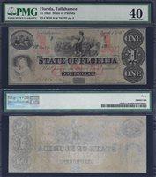 FLORIDA STATE $1.00 1863 PMG 40