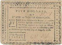 """Fr. No.NC-176 North Carolina Aug. 8, 1778 $5 Small rounded full margins around this """"The Rising States"""" note printed on soft porous paper with small mica flakes present both sides, printed by Davis with relatively light inking both sides XF+"""