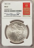 1881-S $1 MS67 NGC. Pop (4260/274), CDN Collector Price