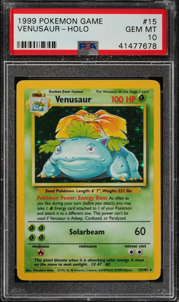 PSA 10 VENUSAUR 1999 Pokemon Base Set Unlimited #15/102 Holo Rare GEM MINT Losse kaarten kaartspellen
